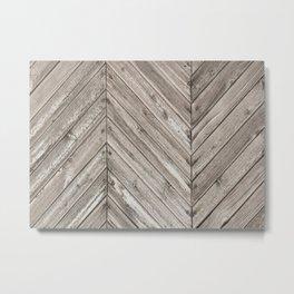 Herringbone Weathered Wood Texture Metal Print