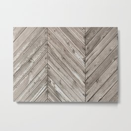Herringbone Weathered Wood Texture Metal Print