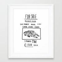 millenium falcon Framed Art Prints featuring Millenium Falcon 'For Sale' Print by Rich Fairhead