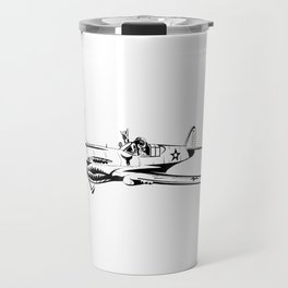 P-40 Curtiss Wright Warhawk Rock On WWII Shark Airplane Pilot Travel Mug