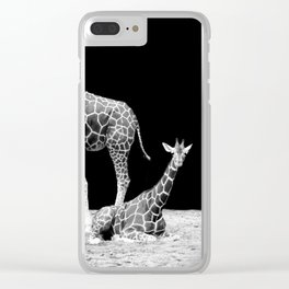 Black and White Giraffes Two Giraffes Clear iPhone Case