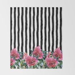 Black white brushstrokes pink watercolor floral stripes Throw Blanket