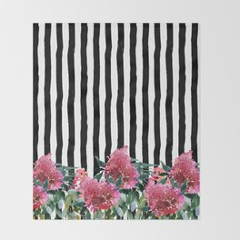 Black white brushstrokes pink watercolor floral stripes Throw Blanket