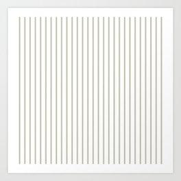 Silver Moss Pinstripe on White Art Print