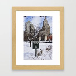 Washington Square Park in the snow Framed Art Print