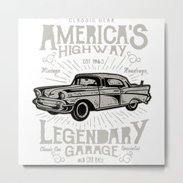 America Retro Car Metal Print