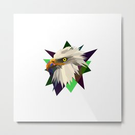 geometrical eagle on black Metal Print