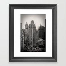 Chicago Tribune Tower Building Black and White Photo Framed Art Print