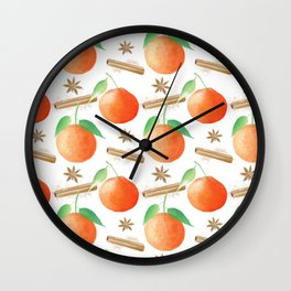 Tangerines, Cinnamon and Star Anise Watercolor Illustration and Pattern on White Wall Clock