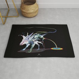 Rat and rainbow. multicolored on dark background - (Red eyes series) Rug