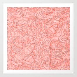 Living Coral Lines Art Print