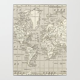 Taupe Wol Map Poster