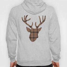 Plaid Deer Head: Dark Brown Hoody