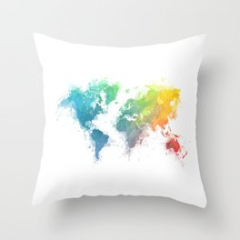 World Map splash 1 Throw Pillow
