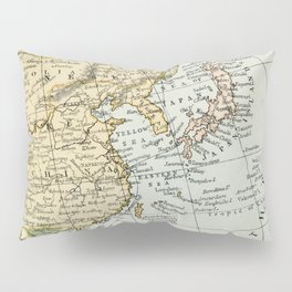 China, Russia, Japan Vintage Map Pillow Sham