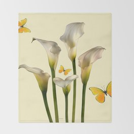 Ivory Calla Lilies Yellow Butterflies Throw Blanket