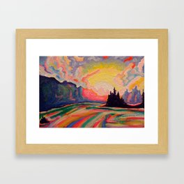 The Sun Is Setting At The Lake Framed Art Print