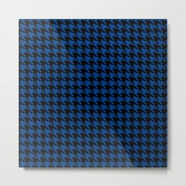 Black and Blue Classic houndstooth pattern Metal Print