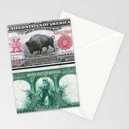 1901 U.S. Federal Reserve $10 Dollar Legal Tender Bison Bank Note Stationery Cards