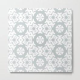 Grey Floral Trellis Woodblock Pattern Metal Print