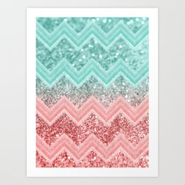 Summer Vibes Glitter Chevron #1 #coral #mint #shiny #decor #art #society6 Art Print