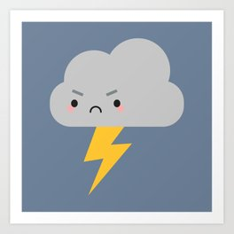 Kawaii Thunder & Lightning Cloud Art Print
