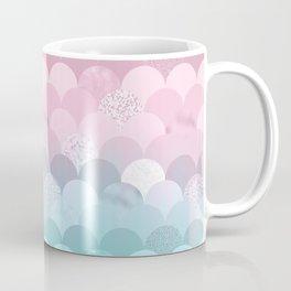 Modern teal pink scallope mermaid gradient Coffee Mug