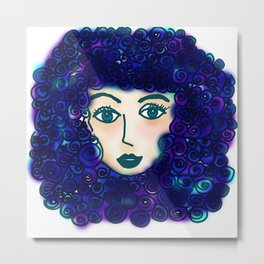 portrait of young woman with blue curly hair Metal Print
