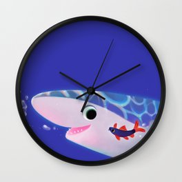 Rainbow shark meets blue shark Wall Clock