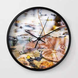 Autumn Leaves in Lake Wall Clock