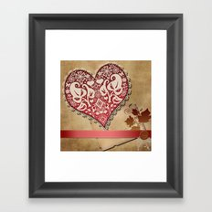 Openwork lace heart . Vintage Irish lace . Framed Art Print