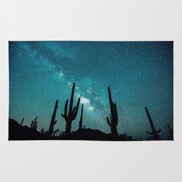 BLUE NIGHT SKY MILKY WAY AND DESERT CACTUS Rug