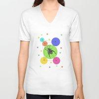 bug V-neck T-shirts featuring bug by mark ashkenazi