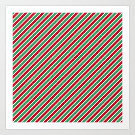 Christmas Tight Stripes Art Print