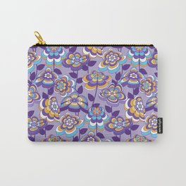 Mid Century Modern Retro Flower Pattern // Purple, Lavender, Turquoise Blue, Orange, Yellow, White Carry-All Pouch