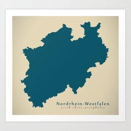 Modern Map - North Rhine-Westphalia federal state Germany DE Art Print
