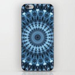 Glowing blue mandala iPhone Skin