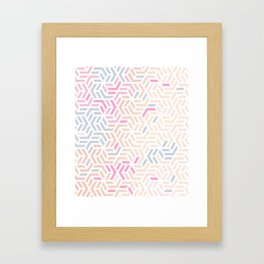 Pastel Deco Hexagon Pattern - Gold, pink & grey #pastelvibes #pattern #deco Framed Art Print