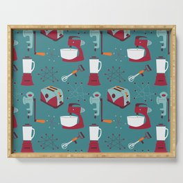 Retro Kitchen - Teal and Raspberry Serving Tray