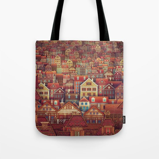 Cute City Street Scene ,Many Houses Tote Bag