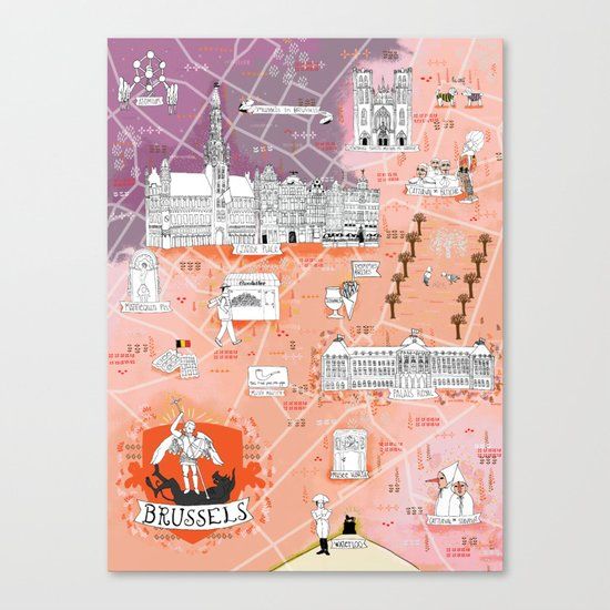 Illustrated Map of Brussels, Belgium Canvas Print
