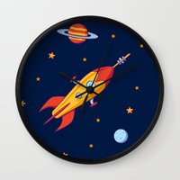 spaceship Wall Clocks featuring Spaceship! by Doodle Dojo