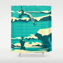 Diver01 Shower Curtain