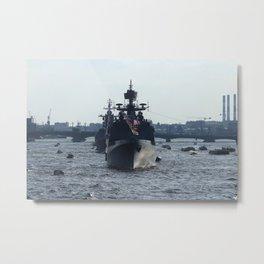 Russian Navy Battleships on Neva River. Metal Print