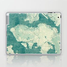 Hong Kong Map Blue Vintage Laptop & iPad Skin