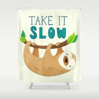 sloth Shower Curtains featuring Sloth by Claire Lordon