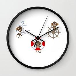 Nautical Monkeys being Naughty Too Wall Clock