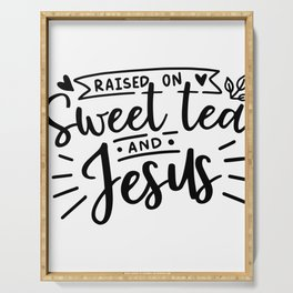TEA LOVERS TEA graphicS - SOUTHERN SWEET TEA AND JESUS Serving Tray