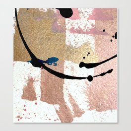 01014: pink, gold, and white abstract Canvas Print