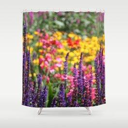 English country garden flowering border Shower Curtain